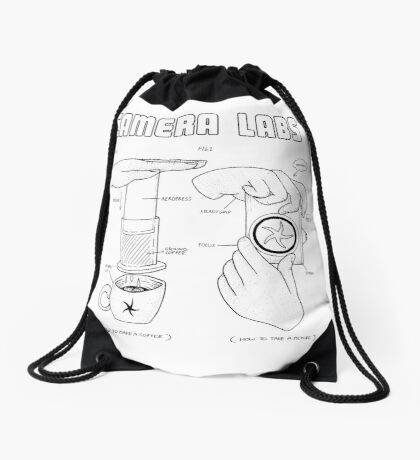 Cameralabs Photography and Coffee (Black artwork) Drawstring Bag