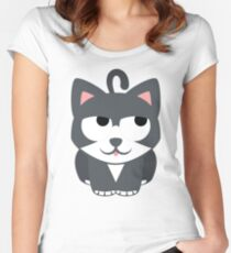 Lovely Cat Emoji Thinking Hard and Hmm Look Women's Fitted Scoop T-Shirt