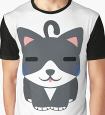 Lovely Cat Emoji Teary Eyes and Sad Look Graphic T-Shirt