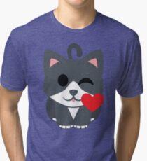 Lovely Cat Emoji Flirting and Blowing Kiss Tri-blend T-Shirt
