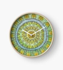 Green Leaves Mandala  Clock