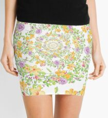 Floral Hypnosis with Springtime Flowers Mini Skirt