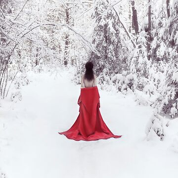 Woman in red kimono and bare shoulders walking away in snow art photo print by AwenArtPrints