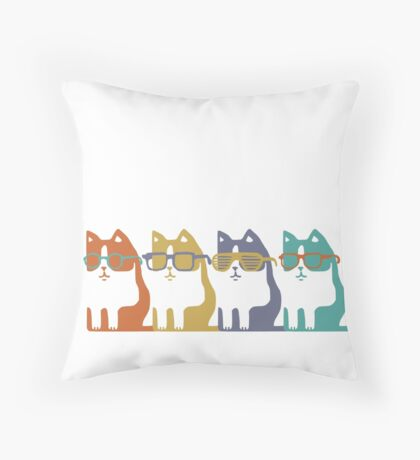 Cats In Glasses Row Throw Pillow