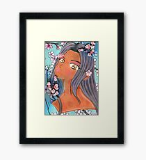 Klip, the Girl Who Pretends to Love Cherry Blossoms Framed Print