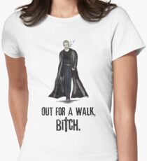 "Buffy The Vampire Slayer - Spike ""Out for a walk b#tch"" Women's Fitted T-Shirt"