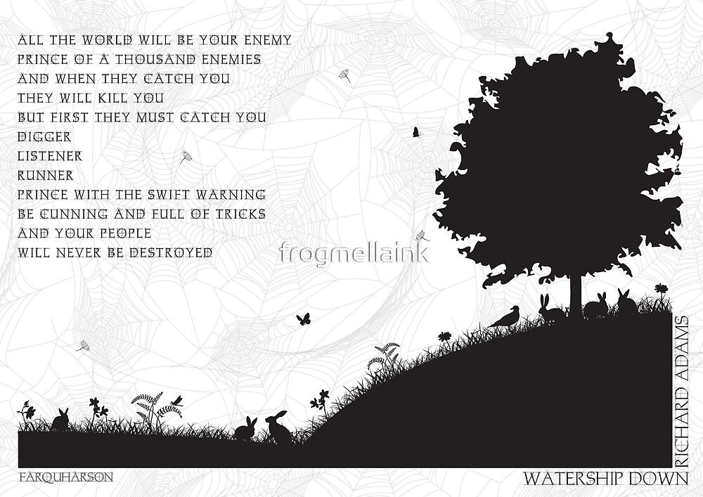 Watership Down Black and White Illustrated Quote by Emily Hall