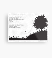 Watership Down Black and White Illustrated Quote Metal Print
