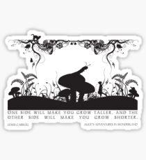 Alice's Adventures in Wonderland Black and White Illustrated Quote Sticker