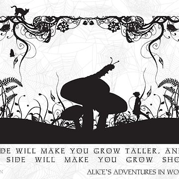 Alice's Adventures in Wonderland Black and White Illustrated Quote by frogmellaink