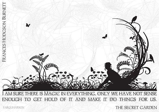 Secret Garden Black and White Illustrated Quote by Emily Farquharson