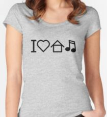 I Love House Music Funny Women's Fitted Scoop T-Shirt