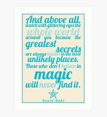 Roald Dahl / The Minpins Quote Art Print