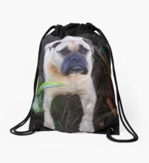 Man and woman and child's best friend  Drawstring Bag