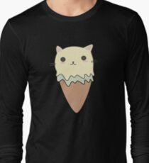 Cute Cat Ice Cream Cone T-Shirt Long Sleeve T-Shirt