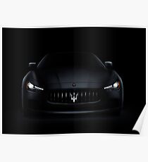 Maserati Ghibli S Q4 luxury car on black art photo print Poster