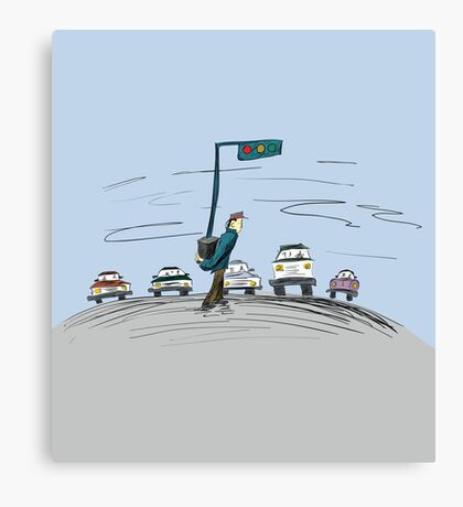 Pedestrian and It's Portable traffic light Canvas Print