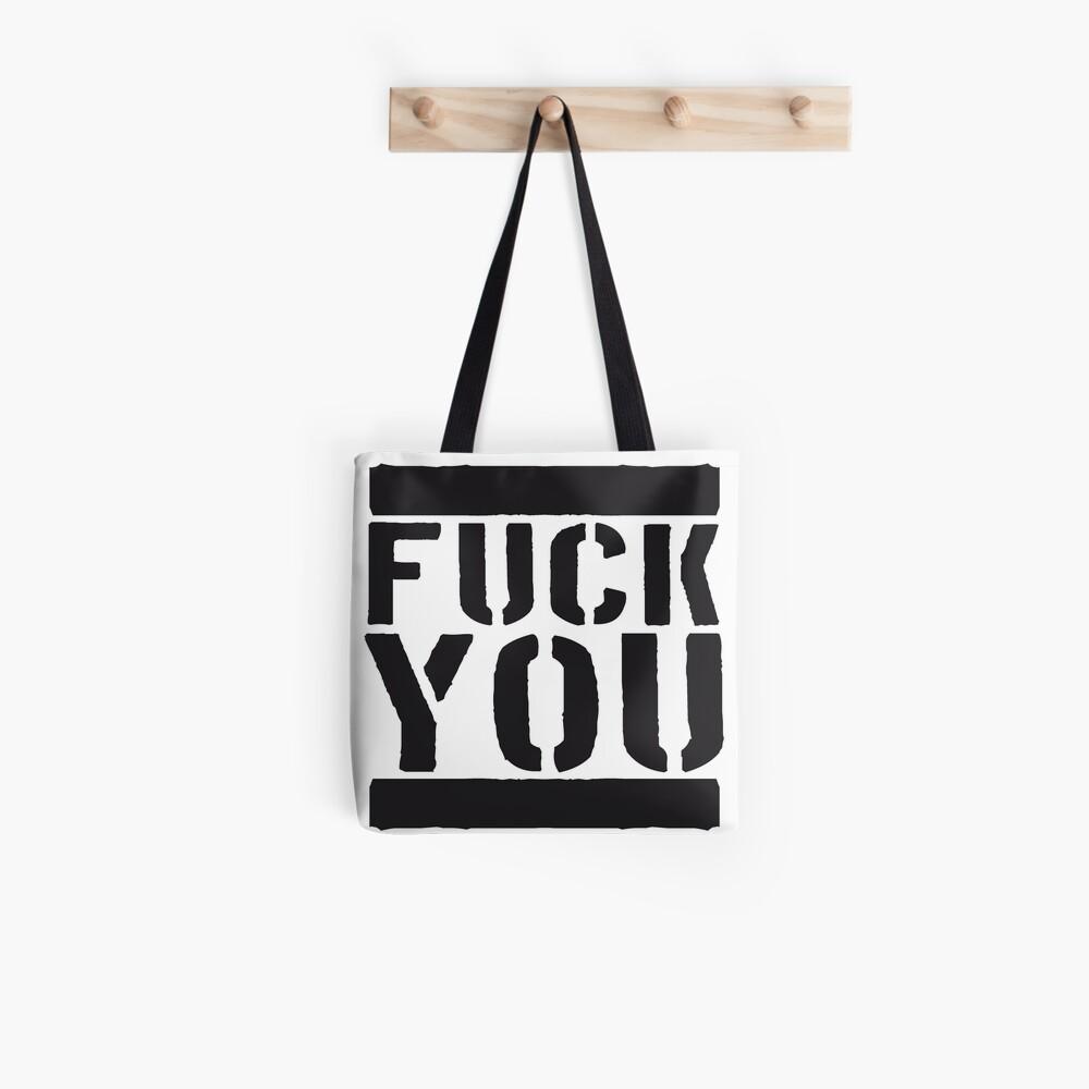Bar Design Cool Letters Fuck You Fuck You Insult Off Comic Cartoon Font Evil Tote Bag