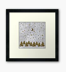 Sparkly Christmas tree, stars, moon on abstract paper Framed Print