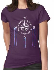 Watercolor Naval Compass [White Ink] Womens Fitted T-Shirt