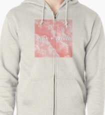 Pink and White Frank Ocean Zipped Hoodie