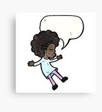 cartoon girl with speech bubble Canvas Print