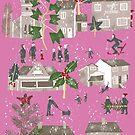 Christmas Winter Village Scene  by marmalademoon