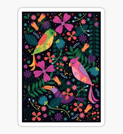 Enchanted Tiki Birds  Sticker