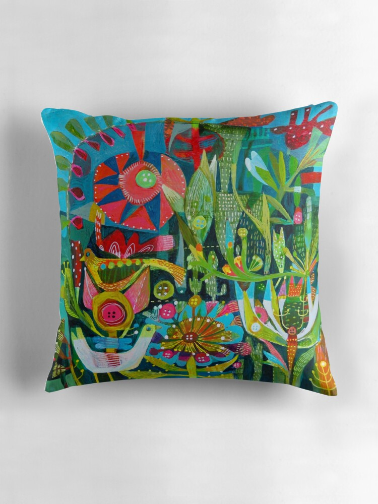 Quot Birds And Buttons Quot Throw Pillows By Este Macleod Redbubble