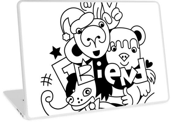 Vinilos Para Portátiles Dibujo Grupo De Amigos Animales Bebés
