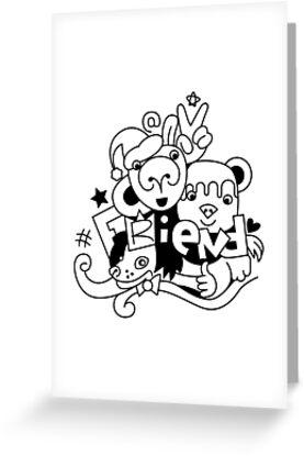 Tarjetas De Felicitación Dibujo Grupo De Amigos Animales Bebés