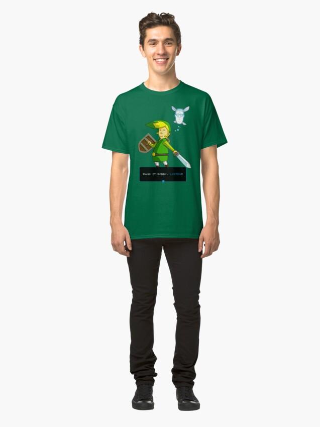 Vista alternativa de Camiseta clásica Rey de la colina - Enlace de Zelda y Navi - Parodia - Dang it Bobby, escucha!