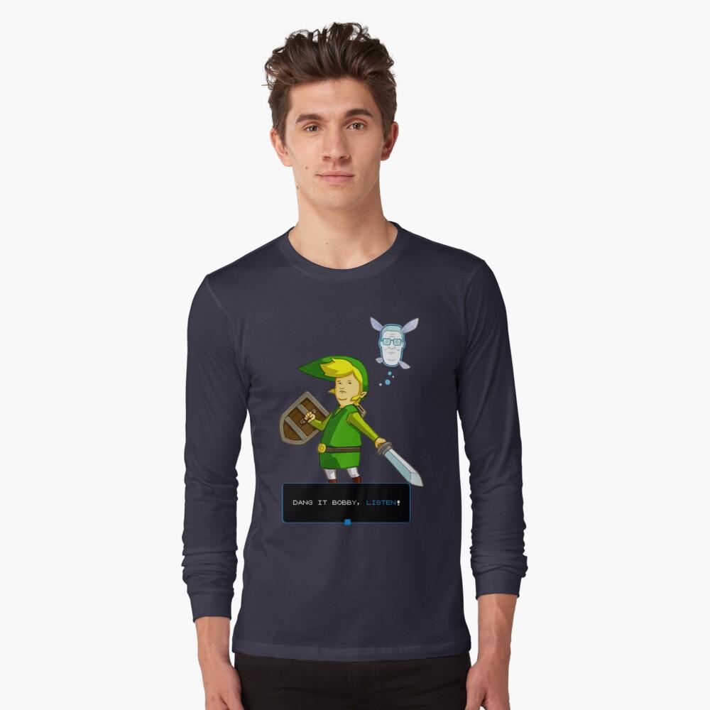 Rey de la colina - Enlace de Zelda y Navi - Parodia - Dang it Bobby, escucha! Camiseta de manga larga