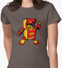 arcade robot gaming gamer funny geek  Womens Fitted T-Shirt