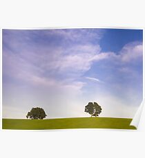 Green field blue sky and trees Poster
