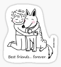 Children + German Shepherd = Best friends ... forever. / Dog & human doodle Sticker