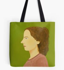 Profile Portrait in Pink and Green Tote Bag