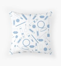 Seamless pattern of different lip make-up tools. Glamour fashion vogue style.  Throw Pillow