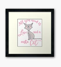 cute Cat love typography  Framed Print