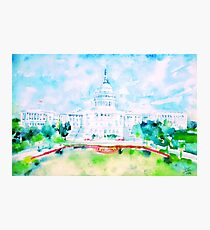 UNITED STATES CAPITOL - watercolor portrait Photographic Print