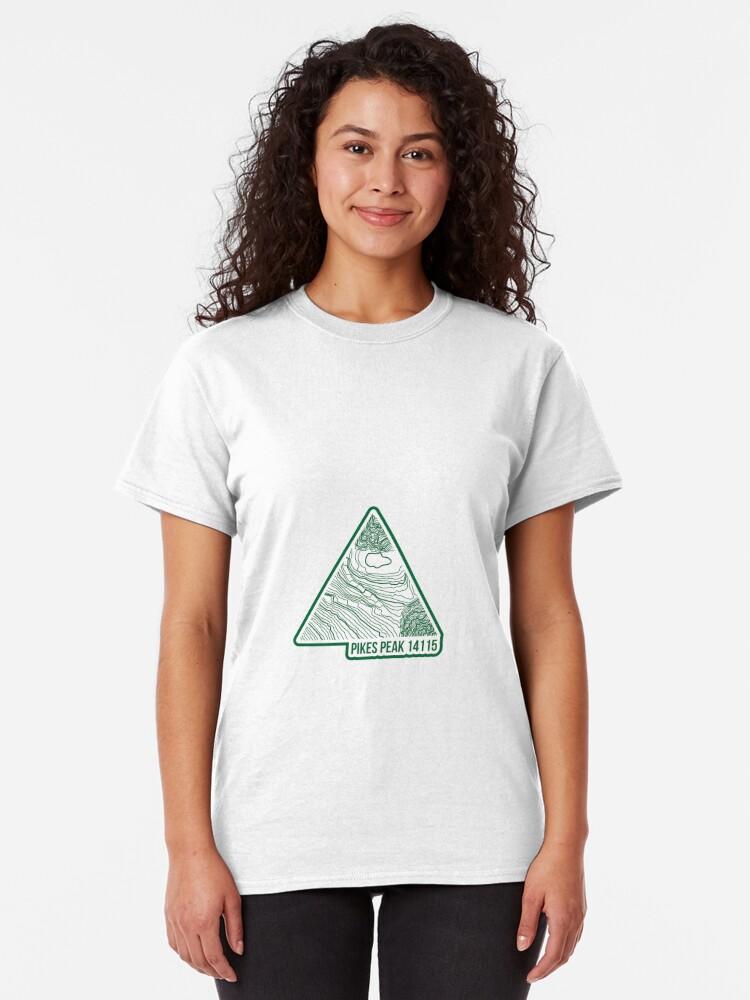 Alternative Ansicht von Pikes Peak Topo Update Grün Classic T-Shirt