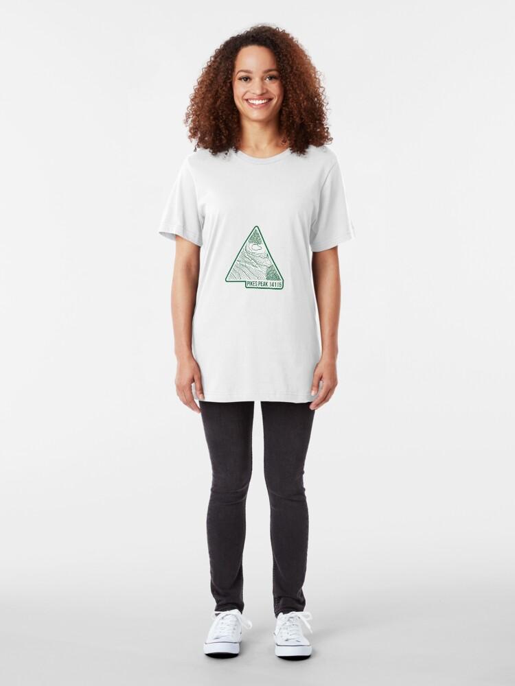 Alternative Ansicht von Pikes Peak Topo Update Grün Slim Fit T-Shirt