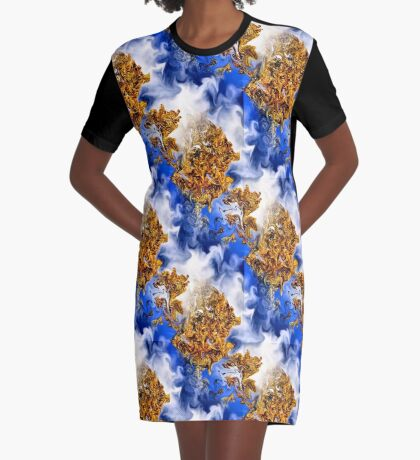 Abstract Clouds And Golden Leaves Design Graphic T-Shirt Dress