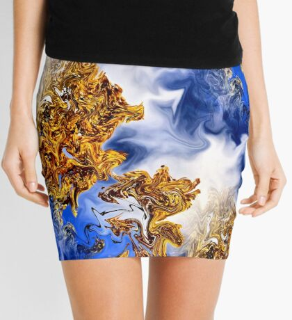 Abstract Clouds And Golden Leaves Design Mini Skirt