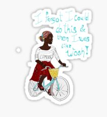 Joyful Ebony African Cyclist Bicyclist Sticker