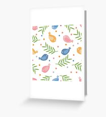 Cute seamless pattern with colorful cartoon birds and twigs on a white background.  Greeting Card