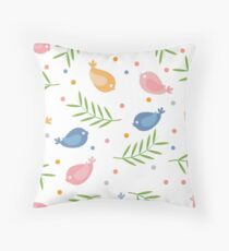 Cute seamless pattern with colorful cartoon birds and twigs on a white background.  Throw Pillow