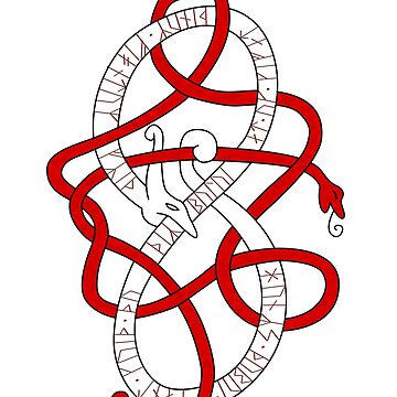 Viking knot work dragon with younger futhark runic inscription by s3w4g3