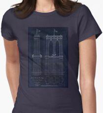 Antique Blueprint of the Brooklyn Bridge, East River Bridge Womens Fitted T-Shirt