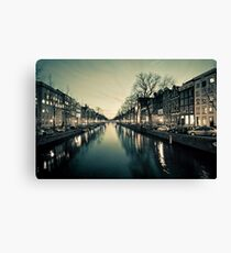 Amsterdam Canal Street view at Night Canvas Print
